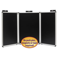 """Justick Three-Panel Electro-Surface Table-Top Expo Display, 72"""" x 36"""", Black"""