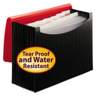 Poly Frequency Expanding File, 12 Pockets, Black/Red Flap
