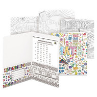Two-Pocket Coloring Folder, 11 x 8 1/2, School Subject Designs, 4/Pack