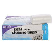 Envision Zipper Seal Closure Bags, Clear, 4 x 4, 1000/Carton