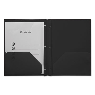 Plastic Twin-Pocket Report Covers with 3 Fasteners, 100 Sheets, Black, 10/PK
