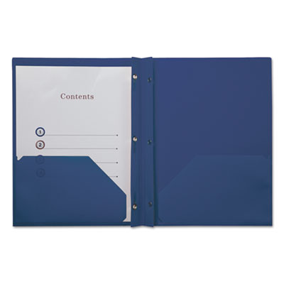 Plastic Twin-Pocket Report Covers with 3 Fasteners, 100 Sheets,RoyalBlue, 10/PK