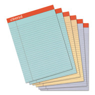 Fashion Colored Perforated Ruled Writing Pads, Wide,8 1/2x11 3/4,50 Sheets,6/PK