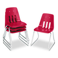 """9600 Classic Series Classroom Chairs, 18"""" Seat Height, Red/Chrome, 4/Carton"""