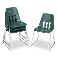 """9600 Classic Series Classroom Chairs, 18"""" Seat Height, Forest Green/Chrome, 4/CT"""