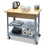 "Countertop Serving Cart, 35 1/2"" x 19 3/4"" x  34 1/4"", Silver/Brown"