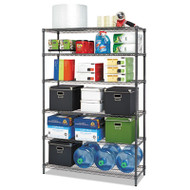 Commercial Wire Shelving, Six-Shelf, 48w x 18d x 72h, Black Anthracite
