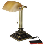 "Banker's Lamp, 2 Prong, 15""High, Antique Brass"