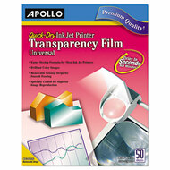 Color Inkjet QuickDry Transparency Film w/Removable Stripe, Letter, Clear, 50/BX