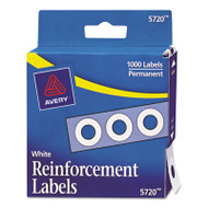 """Dispenser Pack Hole Reinforcements, 1/4"""" Dia, White, 1000/Pack"""