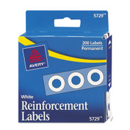 """Dispenser Pack Hole Reinforcements, 1/4"""" Dia, White, 200/Pack"""
