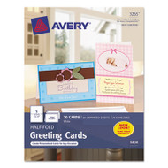 Half-Fold Greeting Cards, Inkjet, 5 1/2 x 8 1/2, Matte White, 20/Box w/Envelopes