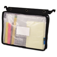 Expanding Zipper Pouch, 13 x 9 1/4, Clear/Black