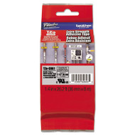 """TZ Extra-Strength Adhesive Laminated Labeling Tape 1-1/2""""w Black on Matte Silver"""