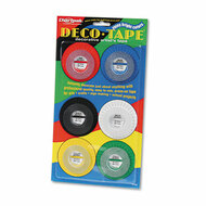 "Deco Bright Decorative Tape, 1/8"" x 324"", Red/Black/Blue/Green/Yellow, 6/Pack"