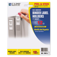 Self-Adhesive Ring Binder Label Holders, Top Load, 3/4 x 2-1/2, Clear, 12/Pack