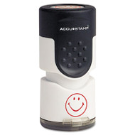 "Accustamp Pre-Inked Round Stamp with Microban, Smiley, 5/8"" dia., Red"