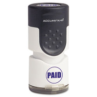 "Accustamp Pre-Inked Round Stamp with Microban, PAID, 5/8"" dia, Blue"
