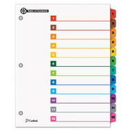 100% Recycled OneStep Index System, Multicolor 12-Tab, 11 x 8-1/2, 1 Set