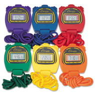 Water-Resistant Stopwatches, 1/100 Second, Assorted Colors, 6/Set