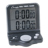 Dual Timer/Clock w/Jumbo Display, LCD, 3 1/2 x 1 x 4 1/2