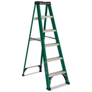 #592 Folding Fiberglass Step Ladder, 6 ft, 5-Step, Green/Black