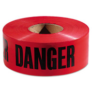 "Danger Barricade Tape, 3"" x 1000 ft, Red/Black, 8 Rolls/Carton"