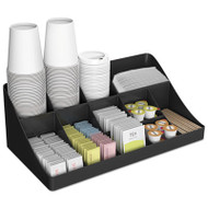 11-Compartment Coffee Condiment Organizer, 18 1/4 x 6 5/8 x 9 7/8, Black