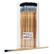 Long Handle Easel Brush, Size 12, Natural Bristle, Flat, 12/Pack