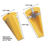 Giant Foot Magnetic Doorstop, No-Slip Rubber Wedge, 3-1/2w x 6-3/4d x 2h, Yellow