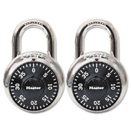 "Combination Lock, Stainless Steel, 1 7/8"" Wide, Black Dial, 2/Pack"
