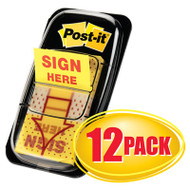 "Arrow Message 1"" Page Flags,  ""Sign Here"", Yellow, 12 50-Flag Dispensers/Pk"