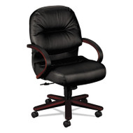 2190 Pillow-Soft Wood Series Mid-Back Chair, Mahogany/Black Leather