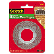 "Exterior Weather-Resistant Double-Sided Tape, 1"" x 60"", Gray"
