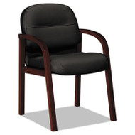 2190 Pillow-Soft Wood Series Guest Arm Chair, Mahogany/Black Leather