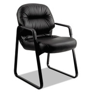 2090 Pillow-Soft Series Leather Guest Arm Chair, Black