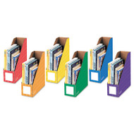 Cardboard Magazine File, 4 1/4 x 12 1/4 x 13, Assorted, 6/PK