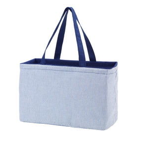 Navy Seersucker Ultimate Tote