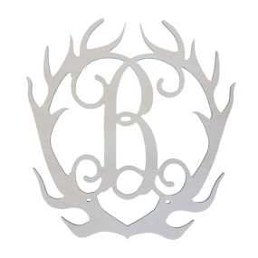 Single Initial Wood Antlers
