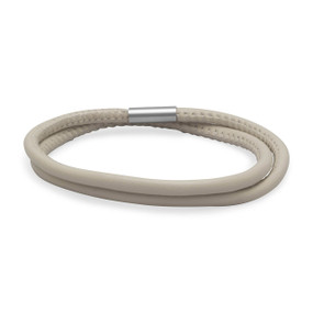 Double Wrap Eggshell Leather Bracelet