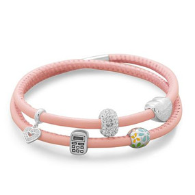 Double Wrap Blushing Pink Leather Bracelet
