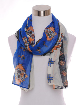 Sugar Skull Scarf -Blue and Orange
