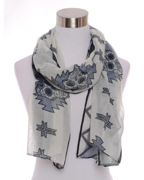 Sugar Skull Scarf - Gray