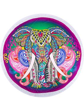 HINDU ELEPHANT PRINT ROUND BEACH TOWEL