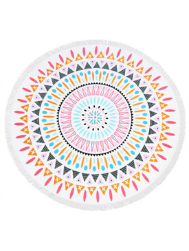 DOILY PATTERN MULTI -COLOR  ROUND BEACH TOWEL MAT