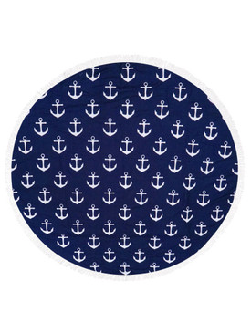 ANCHOR PATTERN  ROUND BEACH TOWEL MAT