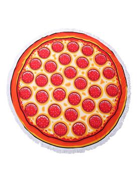 PEPPERONI PIZZA PRINT  ROUND BEACH TOWEL MAT