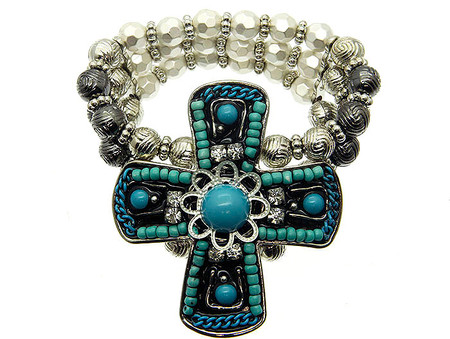 Cross Micro Bead Stretch Bracelet - Turquoise