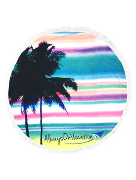 PALMTREE MESSAGE PRINT  ROUND BEACH TOWEL MAT