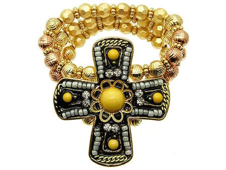 Cross Micro Bead Stretch Bracelet - Yellow